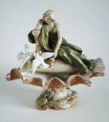Royal Dux Art Nouveau 'Maiden with Doves' Shell Centrepiece c1910